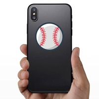 Fastball Pitch Seams Baseball Sticker on a Phone example