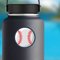 Fastball Pitch Seams Baseball Sticker on a Water Bottle example