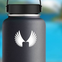 Feathered Angel Wings Sticker on a Water Bottle example