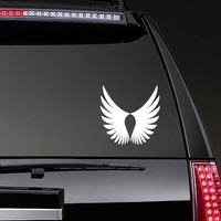 Feathered Bird Wings Sticker on a Rear Car Window example