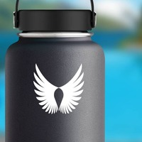 Feathered Bird Wings Sticker on a Water Bottle example