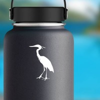 Feathered Crane Sticker on a Water Bottle example