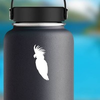 Feathery Cockatoo Sticker on a Water Bottle example