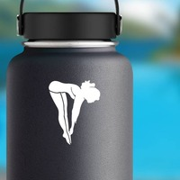 Female Diver Sticker on a Water Bottle example
