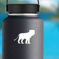 Female Lion Sticker on a Water Bottle example