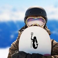 Female Mermaid Holding A Triton Sticker on a Snowboard example