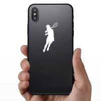 Female Tennis Player Sticker on a Phone example