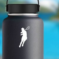 Female Tennis Player Sticker on a Water Bottle example