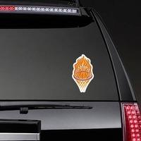 Fire Hoop Basketball Sticker on a Rear Car Window example