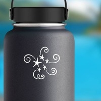Five Stars With Swirls Sticker on a Water Bottle example