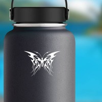 Flames Butterfly Sticker on a Water Bottle example