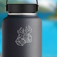 Flaming Dice Sticker on a Water Bottle example