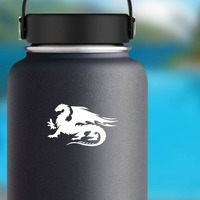 Flaming Dragon Sticker on a Water Bottle example