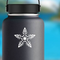 Flaming Flower Star Sticker on a Water Bottle example
