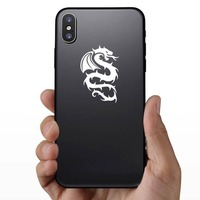 Flaming Prickly Dragon Sticker on a Phone example