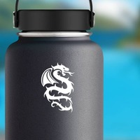 Flaming Prickly Dragon Sticker on a Water Bottle example
