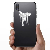 Floral Western Rodeo Saddle Sticker on a Phone example