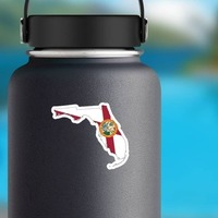 Florida Flag State Sticker on a Water Bottle example