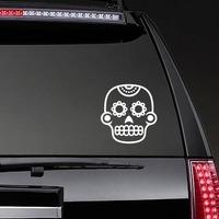 Flower Eyes on Decorative Skull Sticker on a Rear Car Window example