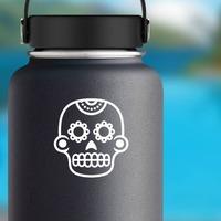 Flower Eyes on Decorative Skull Sticker on a Water Bottle example