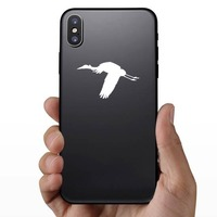 Flying Crane Sticker on a Phone example