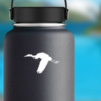 Flying Crane Sticker on a Water Bottle example