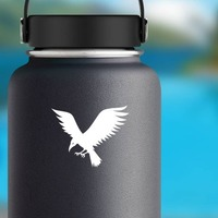 Flying Crow Sticker on a Water Bottle example