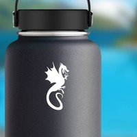 Flying Dragon Sticking Out Tounge Sticker on a Water Bottle example