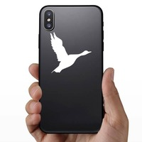 Flying Goose Bird Sticker on a Phone example