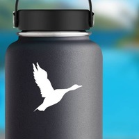 Flying Goose Bird Sticker on a Water Bottle example