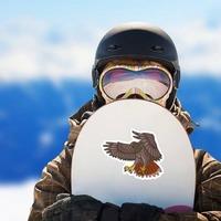 Flying Hawk Mascot Sticker on a Snowboard example