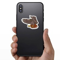 Flying Hawk Mascot Sticker on a Phone example