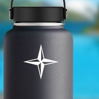 Four Pointed Star Sticker on a Water Bottle example