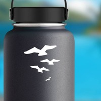 Four Seagulls Flying Sticker on a Water Bottle example