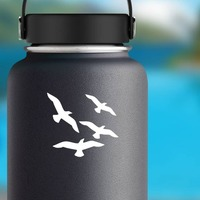 Four Seagulls Sticker on a Water Bottle example
