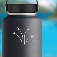 Four Shooting Stars Sticker on a Water Bottle example