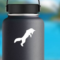 Fox Jumping Sticker on a Water Bottle example