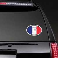 France F Flag Oval Sticker on a Rear Car Window example
