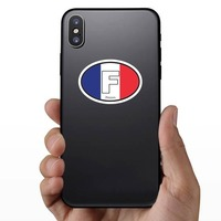 France F Flag Oval Sticker on a Phone example