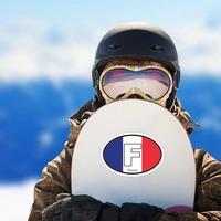 France F Flag Oval Sticker on a Snowboard example