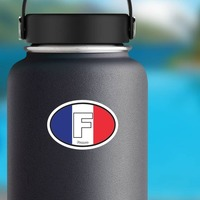France F Flag Oval Sticker on a Water Bottle example