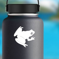Frog Toad With Big Eyes Sticker on a Water Bottle example