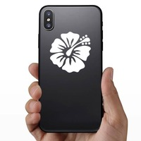 Gentle Hibiscus Flower Sticker on a Phone example