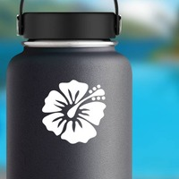Gentle Hibiscus Flower Sticker on a Water Bottle example