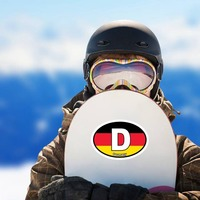 Germany, D, Flag, Oval Sticker on a Snowboard example
