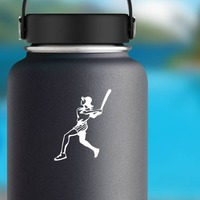 Girl Softball Player Sticker on a Water Bottle example