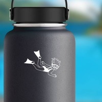 Girl Swimming With Fins Sticker on a Water Bottle example