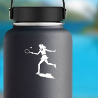 Girl Tennis Player Sticker on a Water Bottle example