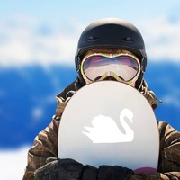 Gleaming Swan Sticker on a Snowboard example