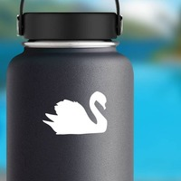 Gleaming Swan Sticker on a Water Bottle example